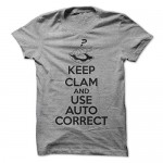 Sun Frog Shirts Women's Keep Clam And Use Auto Correct T-Shirt Large Sport Grey